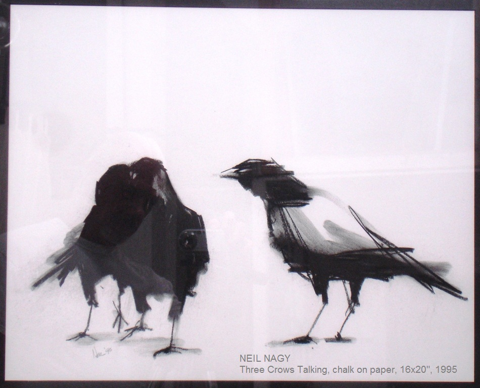 Three  Crows  Talking  16 x 20