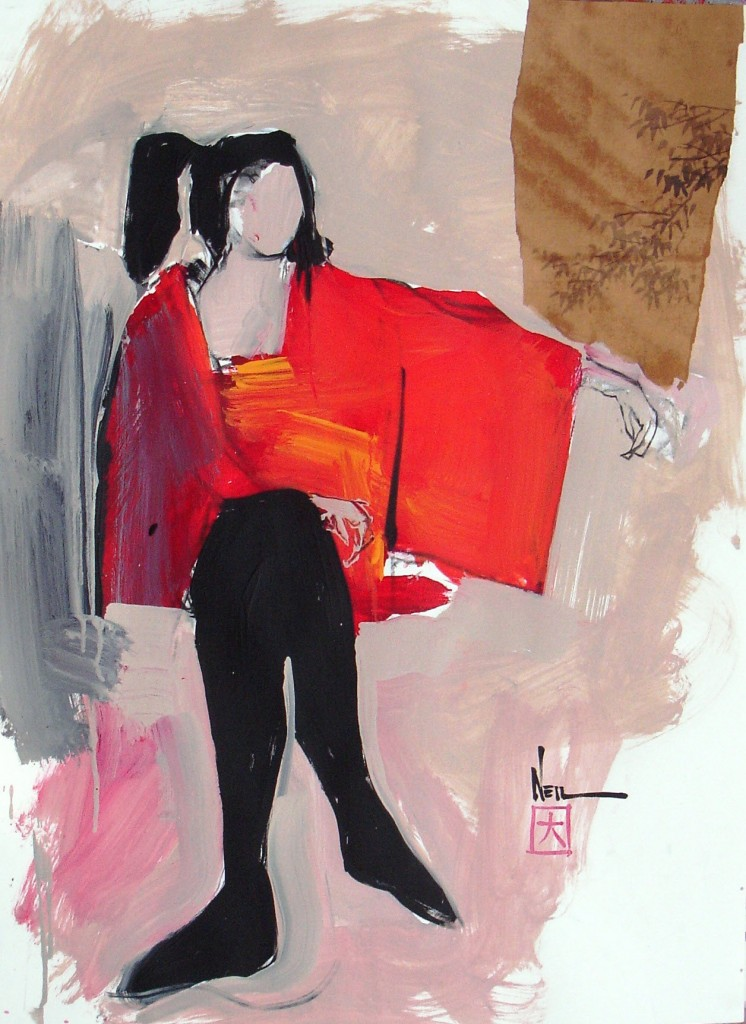 Red Kimono with Branch 30 x 22
